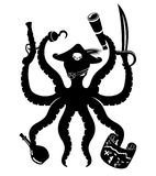 Pirate octopus sign. Stock Images
