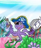 Pirate octopus underwater Royalty Free Stock Image