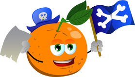 Pirate orange with blank paper and pirate flag Stock Photography