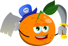 Pirate orange with blank paper and sword Stock Photo