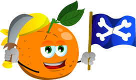 Pirate orange with sword and pirate flag Stock Images