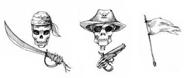 Pirate ornaments illustration Stock Photography