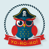 Pirate owl. Vector card. Stock Image