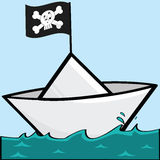 Pirate paper boat Royalty Free Stock Photo