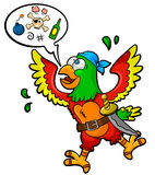 Pirate parrot. Funny pirate-parrot with a speech bubble and piracy icons in it Royalty Free Stock Photo