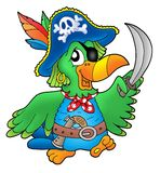 Pirate parrot. On white background - color illustration Royalty Free Stock Photography