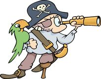 Pirate and Parrot. A stereotypical pirate with a parrot, wooden leg, eye patch and looking glass. Pirate hat with a Jolly Roger skull included Stock Photography