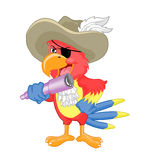 Pirate Parrot with binocular Stock Image
