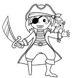 Pirate with parrot. Black and white vector illustration for coloring book. Vector illustration Royalty Free Stock Photography