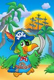 Pirate parrot with boat. Color illustration Stock Images