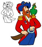 Pirate With A Parrot. Pirate captain drawing his cutlass, while his parrot sneers Royalty Free Stock Photos