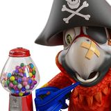 Pirate parrot cartoon. This funny pirate parrot cartoon will be a very cool choice for your illustration or project Royalty Free Stock Photography
