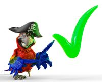 Pirate parrot cartoon. This funny pirate parrot cartoon will be a very cool choice for your illustration or project Stock Photos