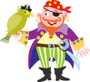 Pirate with parrot. A cartoon pirate with a green parrot Royalty Free Stock Photography