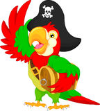 Pirate parrot cartoon Stock Image