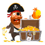 Pirate parrot and chest of gold Royalty Free Stock Photography