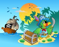 Pirate parrot and chest on island. Illustration Royalty Free Stock Photos