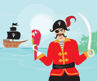 Pirate with parrot Royalty Free Stock Images