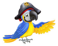 Pirate Parrot Illustration. A drawing of a cartoon parrot pirate character with eye patch and hat with skull and crossbones pointing with its wing Stock Photography