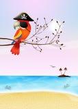 Pirate parrot on island Stock Photos