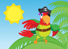 Pirate parrot looking around - jpg illustration Stock Image