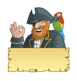 Pirate,parrot nad treasure map Stock Photography
