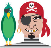 Pirate and Parrot. One eyed pirate with one eyed parrot on his shoulder Stock Photography