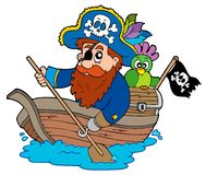 Pirate with parrot paddling in boat. Illustration Stock Photography