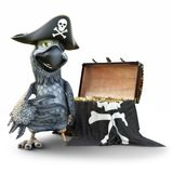Pirate Parrot with patch and hat posing with a treasure chest on an isolated white background. 3d rendering Royalty Free Stock Images