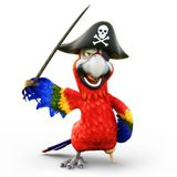 Pirate Parrot with peg leg, posing with a hat, patch and sword on an isolated white background. 3d rendering Stock Photos