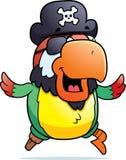 Pirate Parrot Running. A cartoon pirate parrot running and smiling Stock Photos