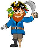 Pirate with parrot and sabre Stock Image