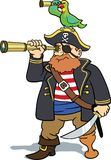Pirate and parrot scouting royalty free illustration