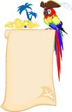 Pirate parrot and scroll. Background with pirate parrot and scroll Royalty Free Stock Image