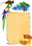 Pirate parrot and scroll. Background with pirate parrot and scroll Stock Photography