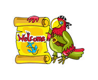 Pirate parrot with signboard vector icon Royalty Free Stock Images
