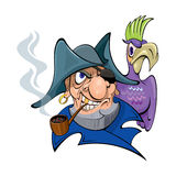 Pirate with a parrot. Pirate smoking a pipe. parrot sits on his shoulder Stock Photography