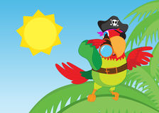 Pirate parrot with telescope looking forward - jpg illustration Stock Image