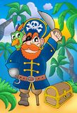 Pirate with parrot and treasure chest Stock Images