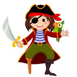 Pirate with parrot. Vector illustration isolated on whit background Stock Photo