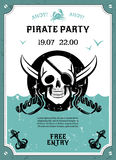 Pirate party announcement poster with skull Stock Images