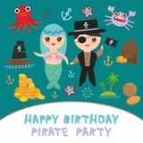 Pirate party card banner design. Mermaid with pirate, boat with sail, gold coins crab octopus starfish island with palm trees anch. Or compass anchor helm Stock Images