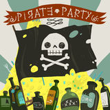 Pirate party card. The vector greeting card of halloween pirate party with pirate flag, rome and treasure Stock Photography