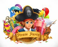 Pirate party. Children holiday vector emblem. Pirate party. Children holiday 3d vector emblem Royalty Free Stock Images