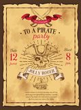 Pirate Party Drawn Poster stock illustration