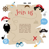 Pirate party invitation card design. vector illustration Royalty Free Stock Images