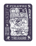 Pirate party, the picture of the treasure island map Stock Images
