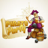 Pirate party poster. Vector illustration Royalty Free Stock Image