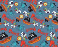 Pirate party seamless pattern. colorful objects repeating background for web and print purpose. marker art blue background royalty free illustration