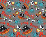Pirate party seamless pattern. colorful objects repeating background for web and print purpose. marker art stock illustration